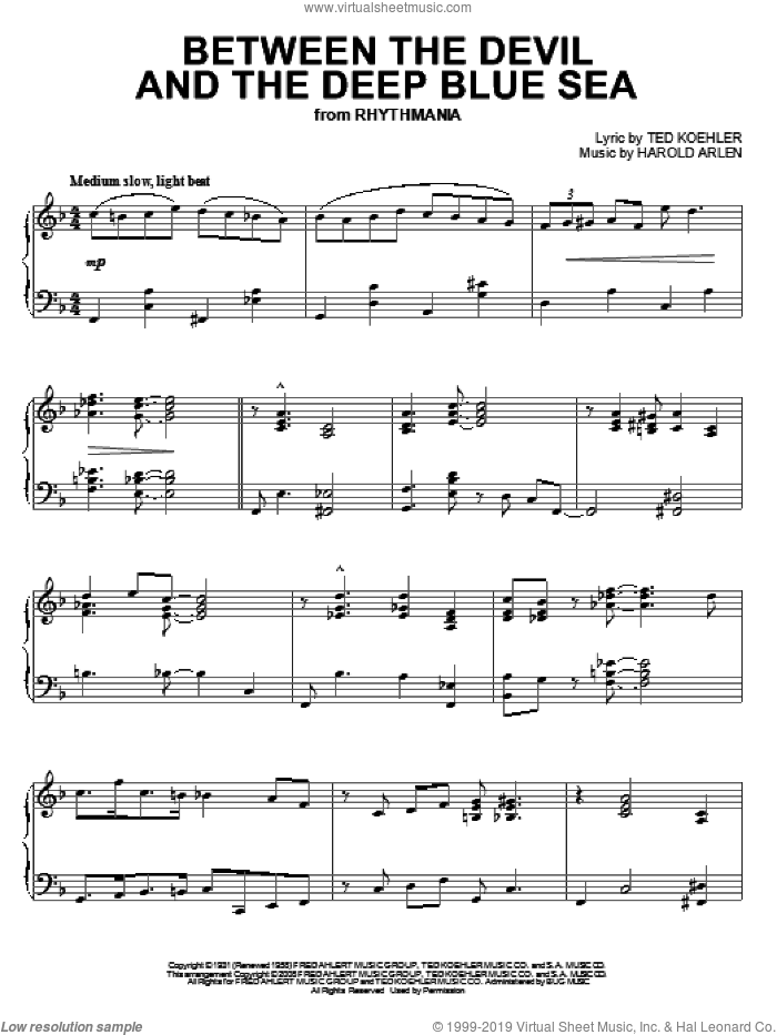 Between The Devil And The Deep Blue Sea sheet music for piano solo by Harold Arlen, Alan Jay Lerner and Ted Koehler, intermediate skill level