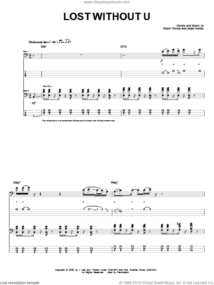 Lost Without U sheet music for bass (tablature) (bass guitar) by Robin Thicke, intermediate. Score Image Preview.