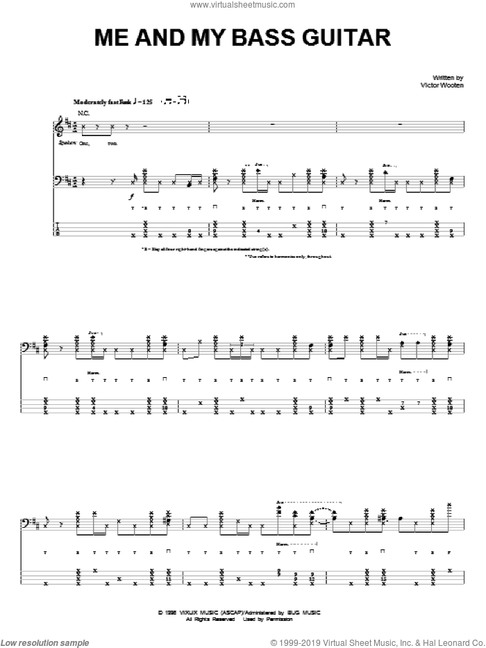 Me And My Bass Guitar sheet music for bass (tablature) (bass guitar) by Victor Wooten, intermediate skill level