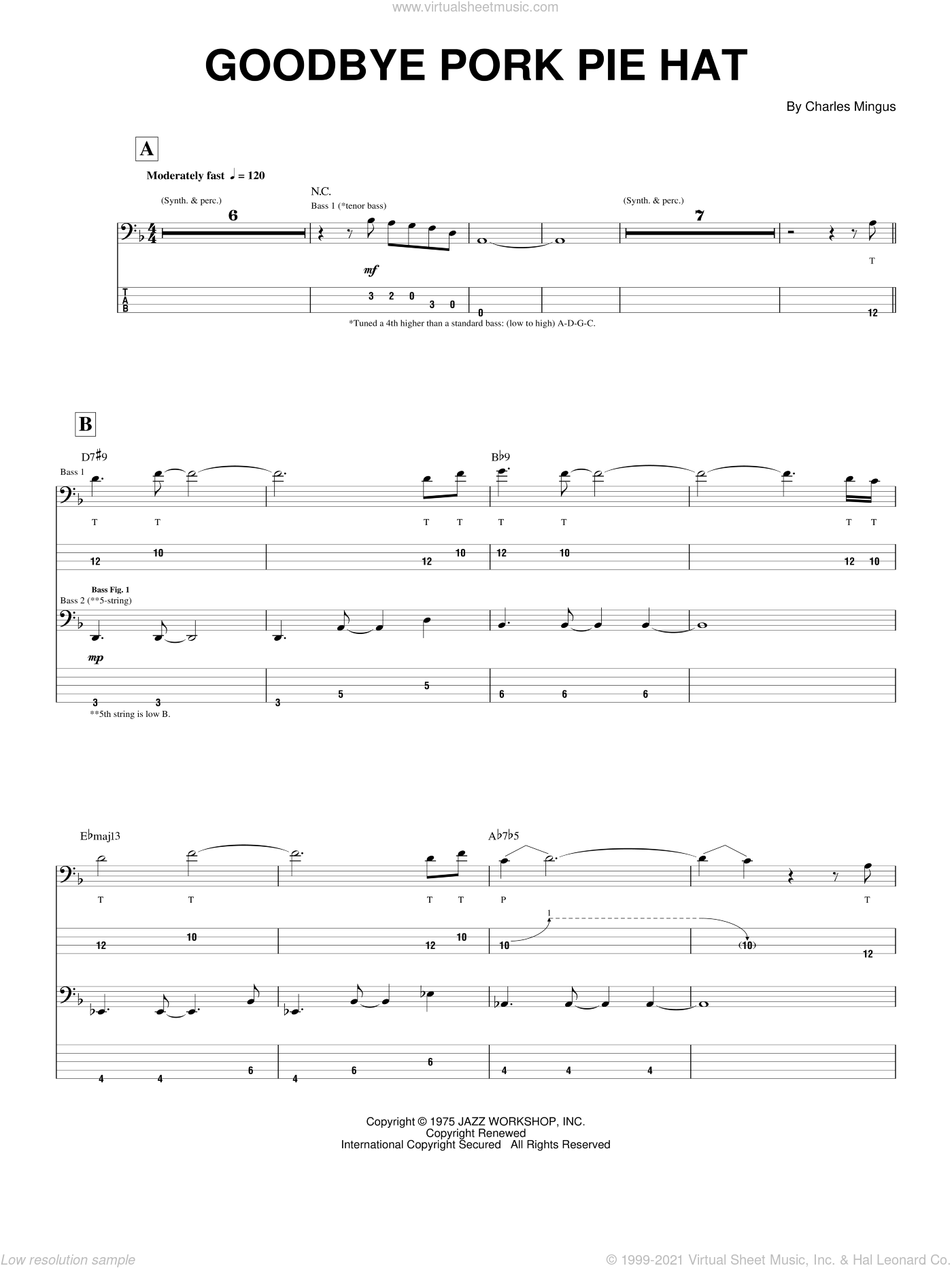 Goodbye Pork Pie Hat sheet music for bass (tablature) (bass guitar) by Charles Mingus, intermediate. Score Image Preview.