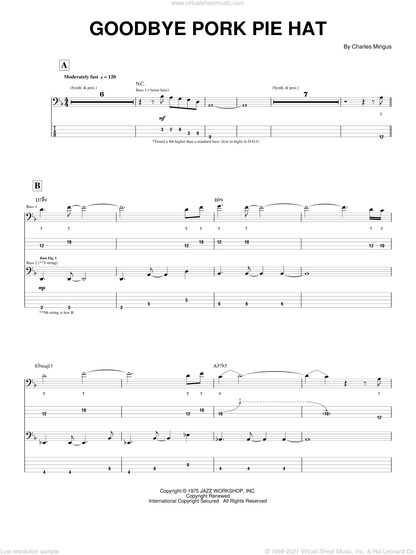 Goodbye Pork Pie Hat sheet music for bass (tablature) (bass guitar) by Charles Mingus, intermediate skill level