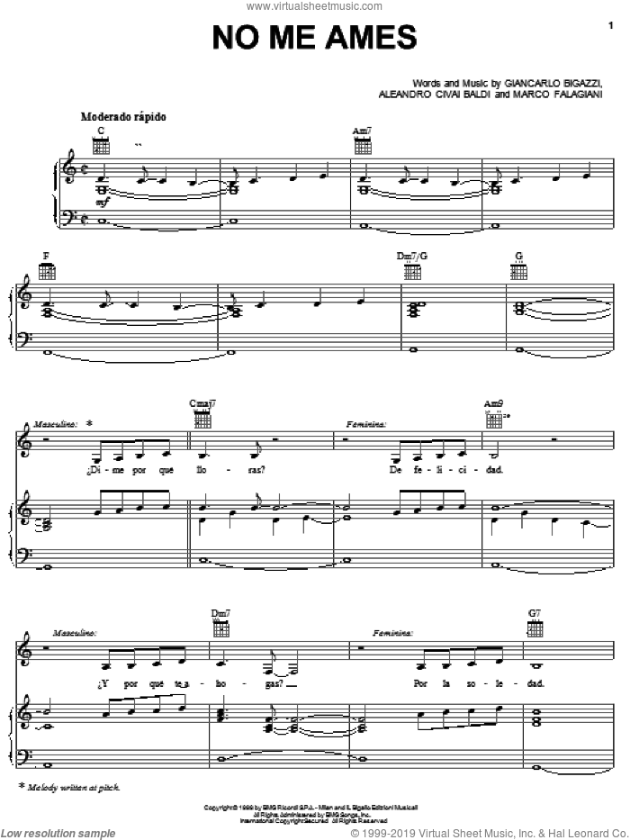 No Me Ames sheet music for voice, piano or guitar by Giancarlo Bigazzi, Aleandro Civai Baldi and Marco Falagiani, intermediate skill level