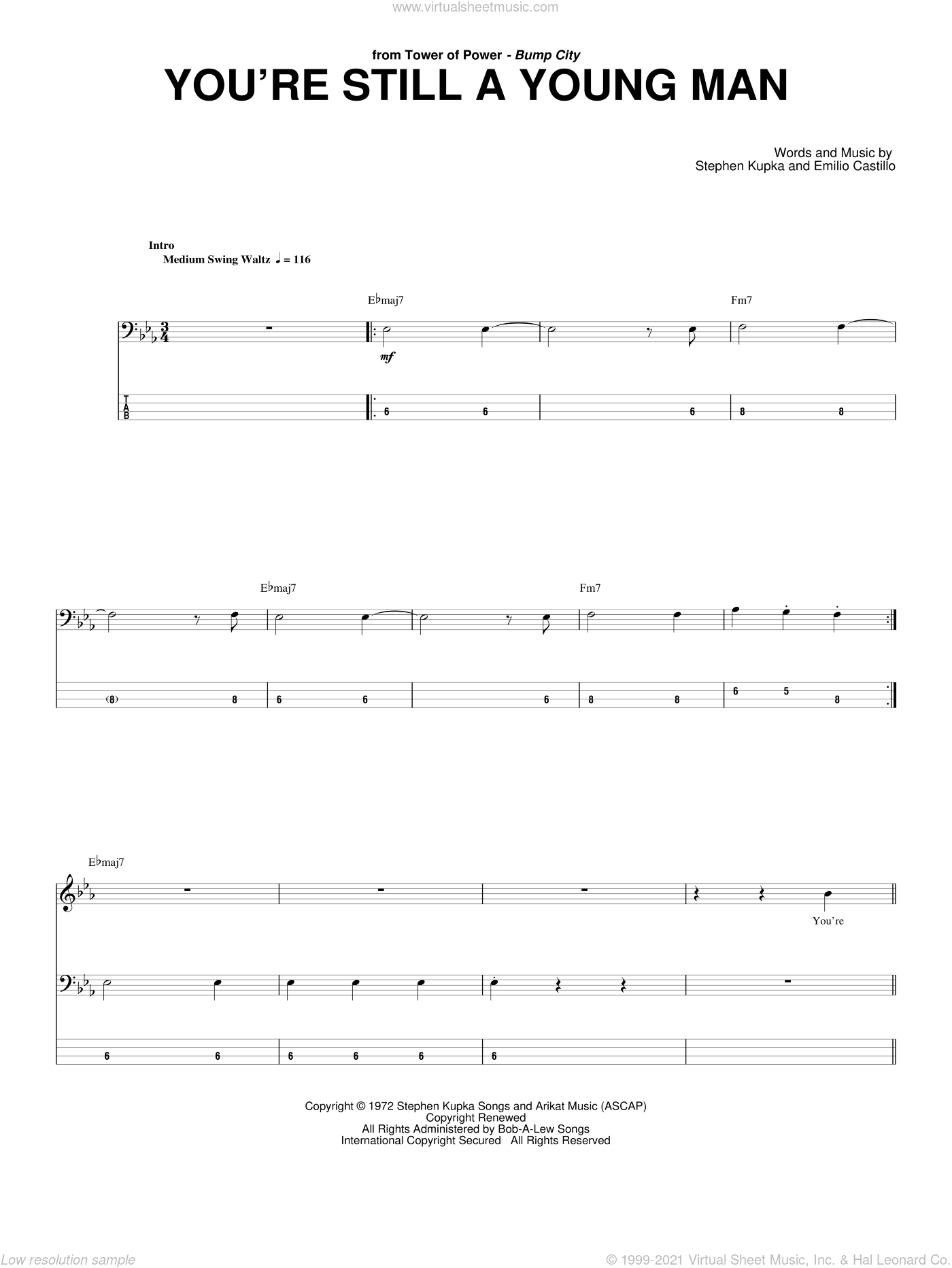 You're Still A Young Man sheet music for bass (tablature) (bass guitar) by Stephen Kupka, Tower Of Power and Emilio Castillo. Score Image Preview.