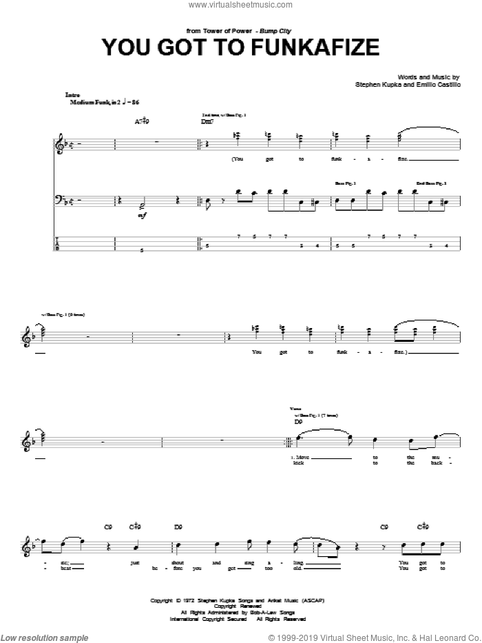 You Got To Funkafize sheet music for bass (tablature) (bass guitar) by Tower Of Power, Emilio Castillo and Stephen Kupka, intermediate. Score Image Preview.
