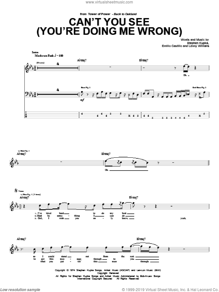 Can't You See (You're Doing Me Wrong) sheet music for bass (tablature) (bass guitar) by Tower Of Power, Emilio Castillo, Robbie Williams and Stephen Kupka, intermediate bass (tablature) (bass guitar). Score Image Preview.