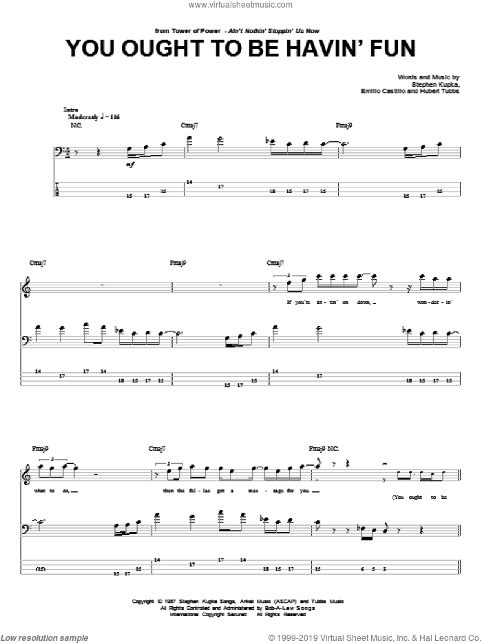 You Ought To Be Havin' Fun sheet music for bass (tablature) (bass guitar) by Stephen Kupka, Tower Of Power, Emilio Castillo and Hubert Tubbs. Score Image Preview.