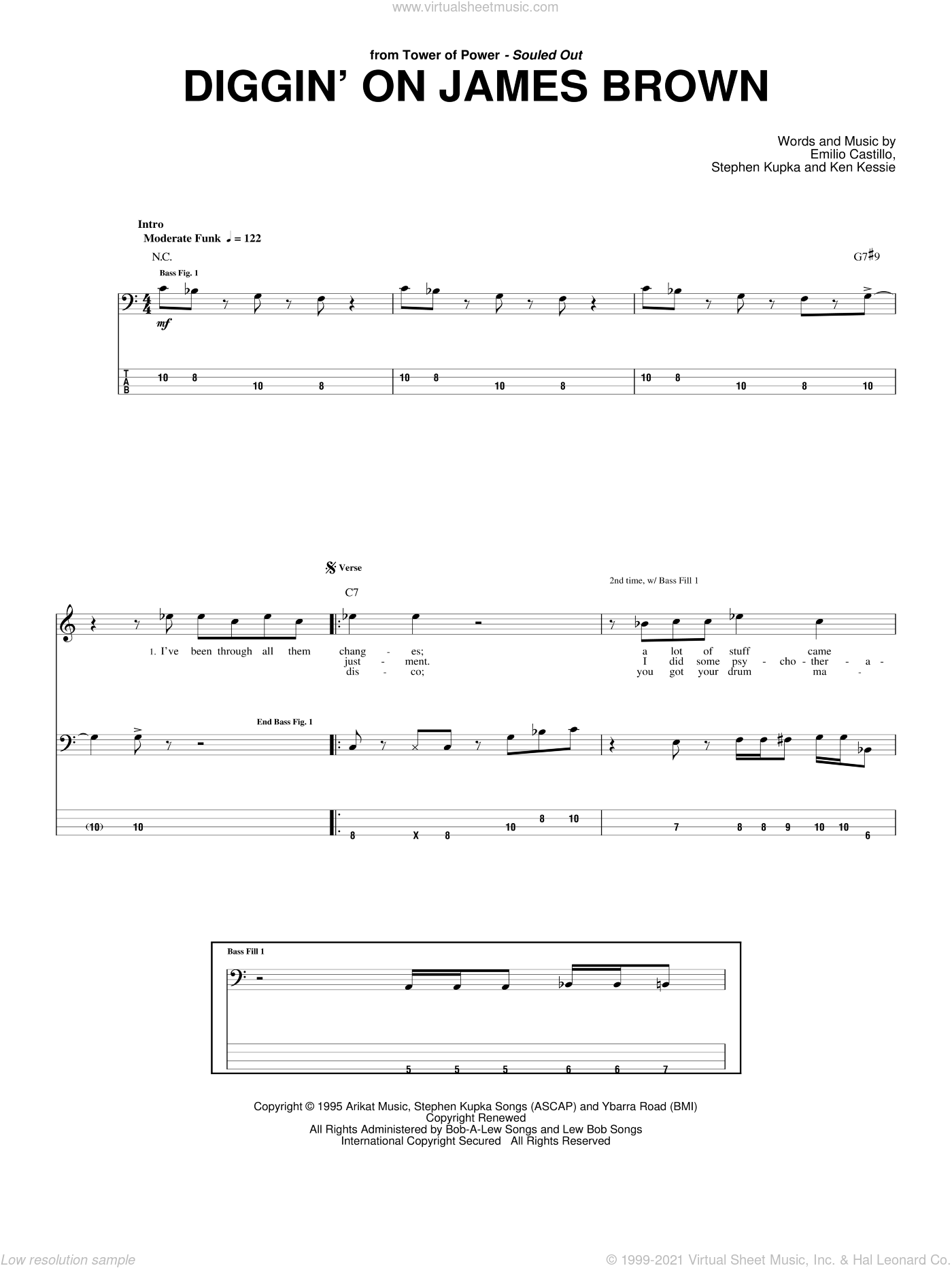 Diggin' On James Brown sheet music for bass (tablature) (bass guitar) by Tower Of Power, Emilio Castillo and Stephen Kupka. Score Image Preview.
