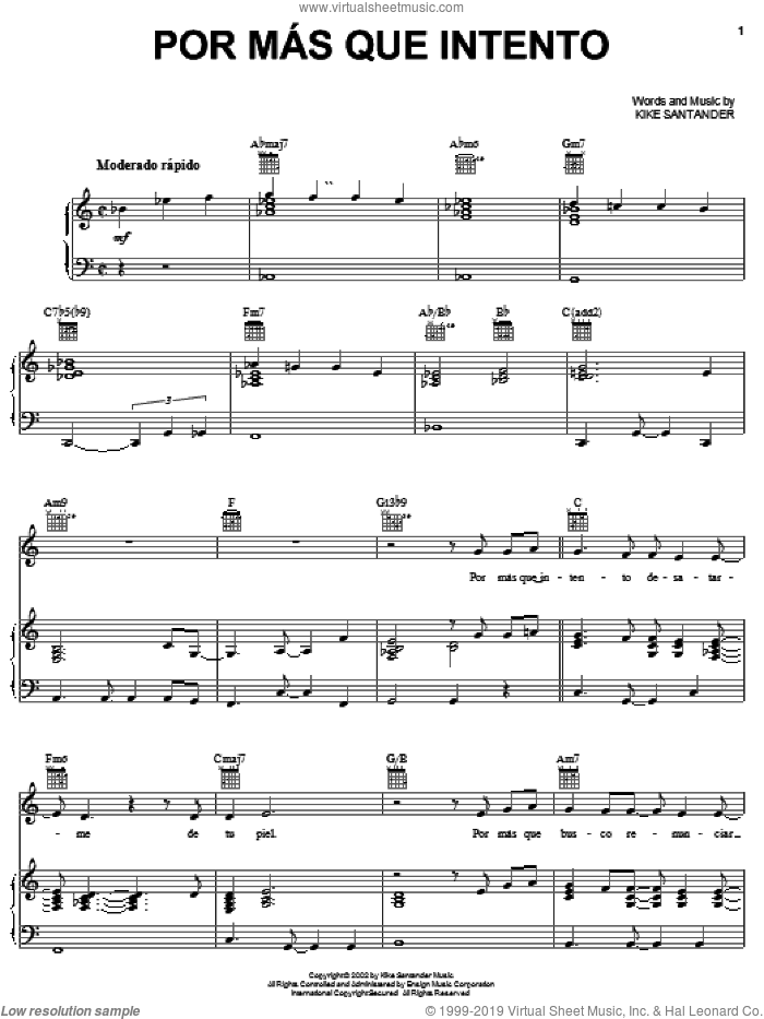 Por Mas Que Intento sheet music for voice, piano or guitar by Kike Santander