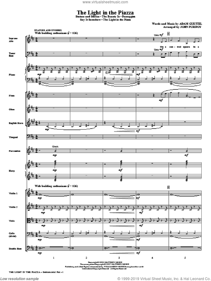 The Light In The Piazza (Choral Highlights) (COMPLETE) sheet music for orchestra/band (Orchestra) by Adam Guettel and John Purifoy, intermediate skill level