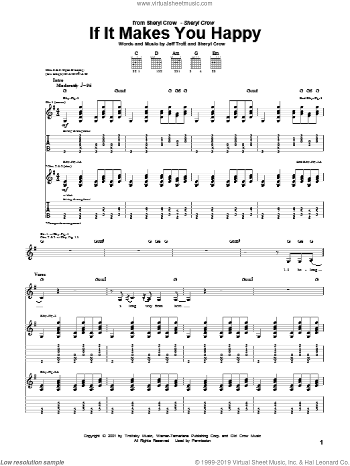 If It Makes You Happy sheet music for guitar (tablature) by Jeff Trott and Sheryl Crow. Score Image Preview.