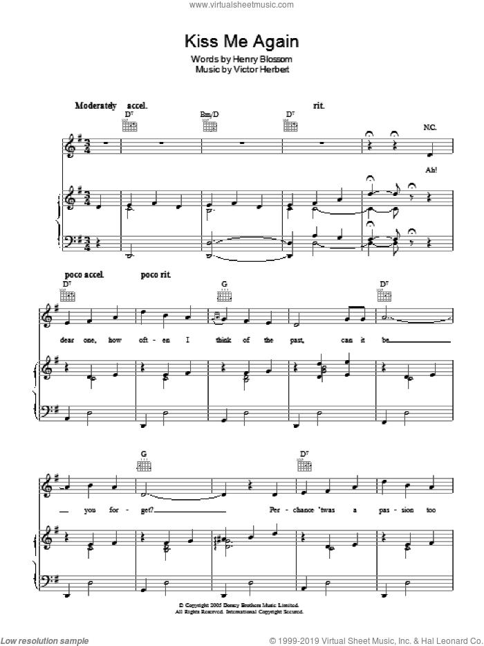Kiss Me Again sheet music for voice, piano or guitar by Victor Herbert and Henry Blossom, intermediate skill level