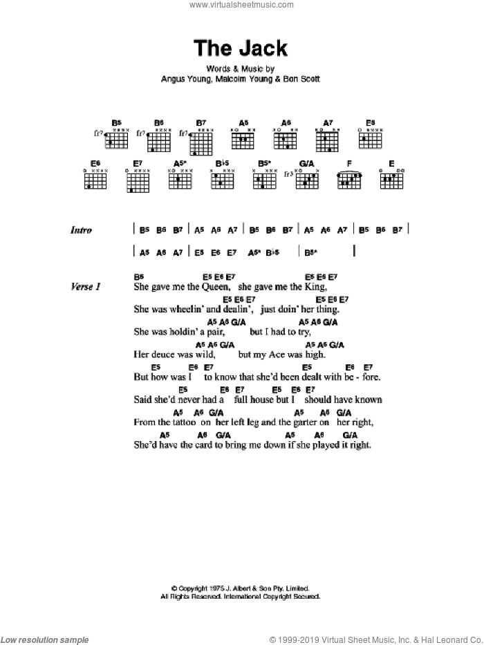 The Jack sheet music for guitar (chords) by Malcolm Young, AC/DC and Angus Young. Score Image Preview.