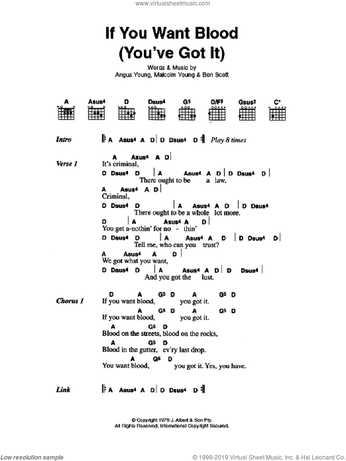 If You Want Blood (You've Got It) sheet music for guitar (chords) by Angus Young, AC/DC and Malcolm Young. Score Image Preview.