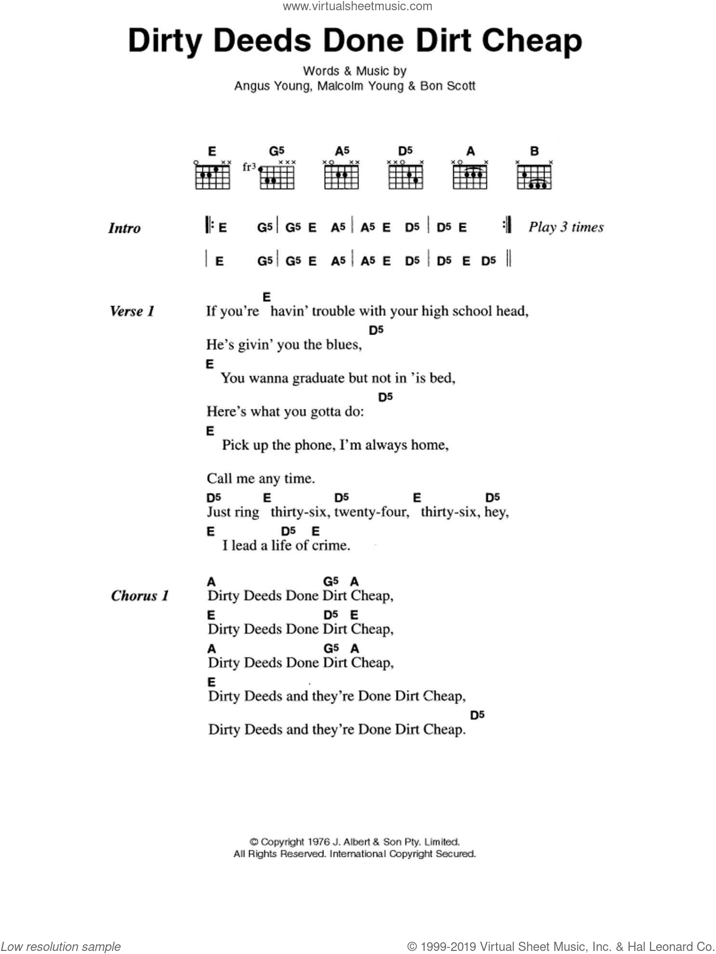 Dirty Deeds Done Dirt Cheap sheet music for guitar (chords, lyrics, melody) by Angus Young