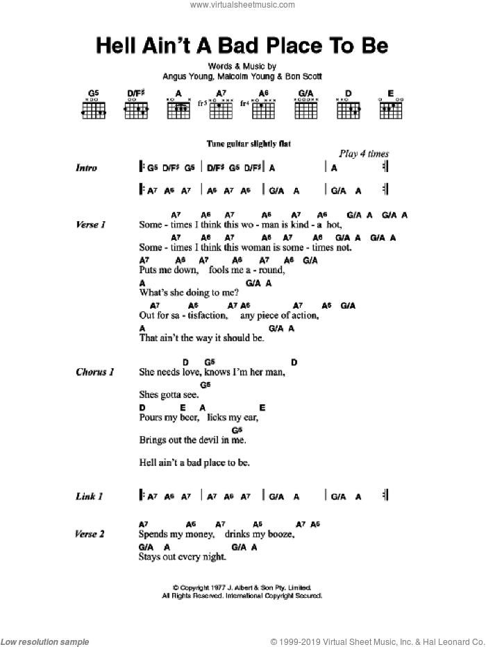 Hell Ain't A Bad Place To Be sheet music for guitar (chords, lyrics, melody) by Angus Young