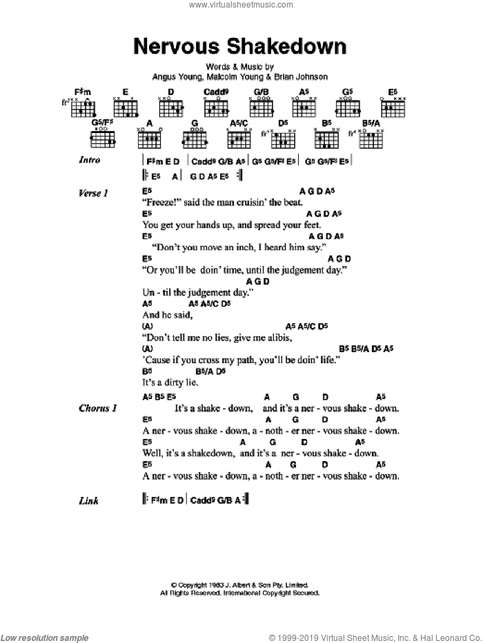 Nervous Shakedown sheet music for guitar (chords) by Angus Young