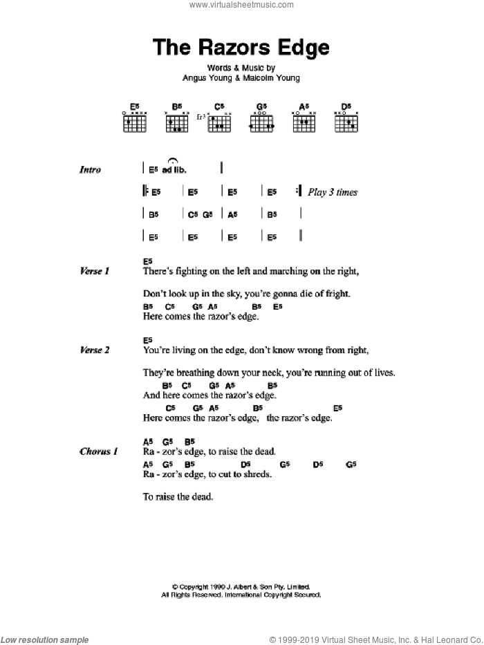 The Razor's Edge sheet music for guitar (chords) by AC/DC, Angus Young and Malcolm Young, intermediate skill level