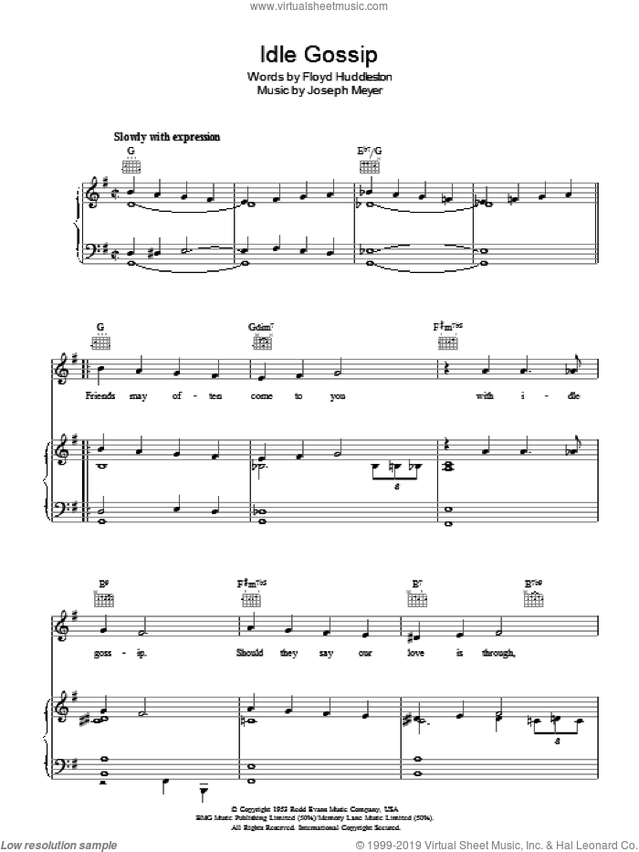 Idle Gossip sheet music for voice, piano or guitar by Floyd Huddleston