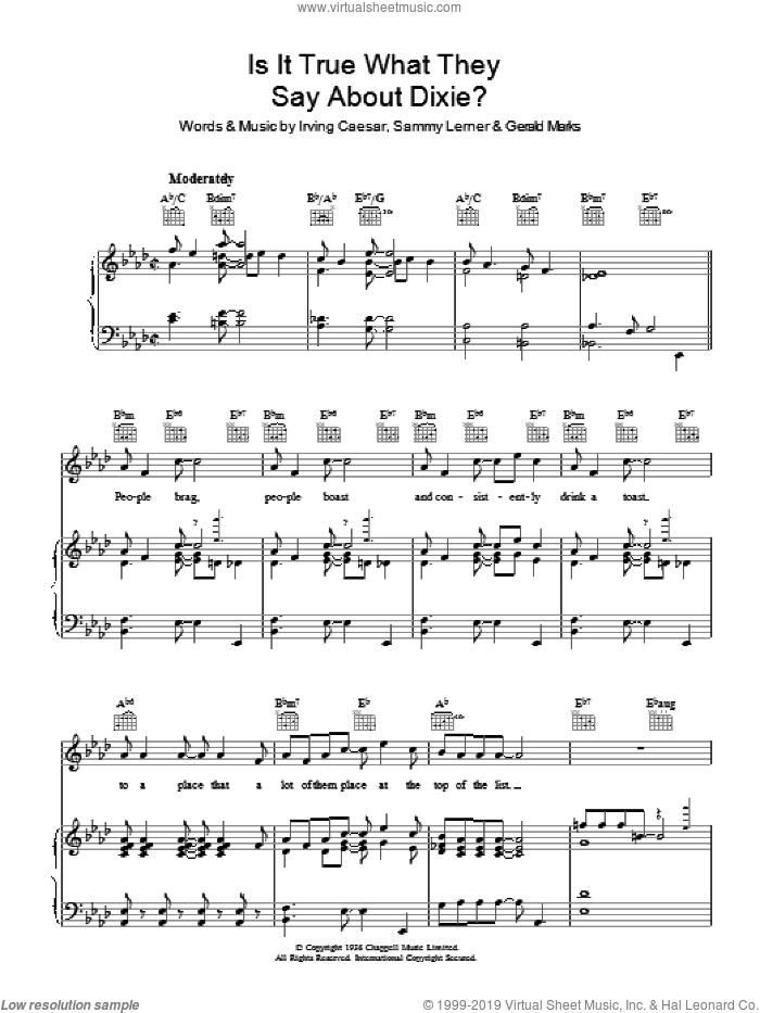 Is It True What They Say About Dixie? sheet music for voice, piano or guitar by Al Jolson, Gerald Marks, Irving Caesar and Sammy Lerner, intermediate skill level