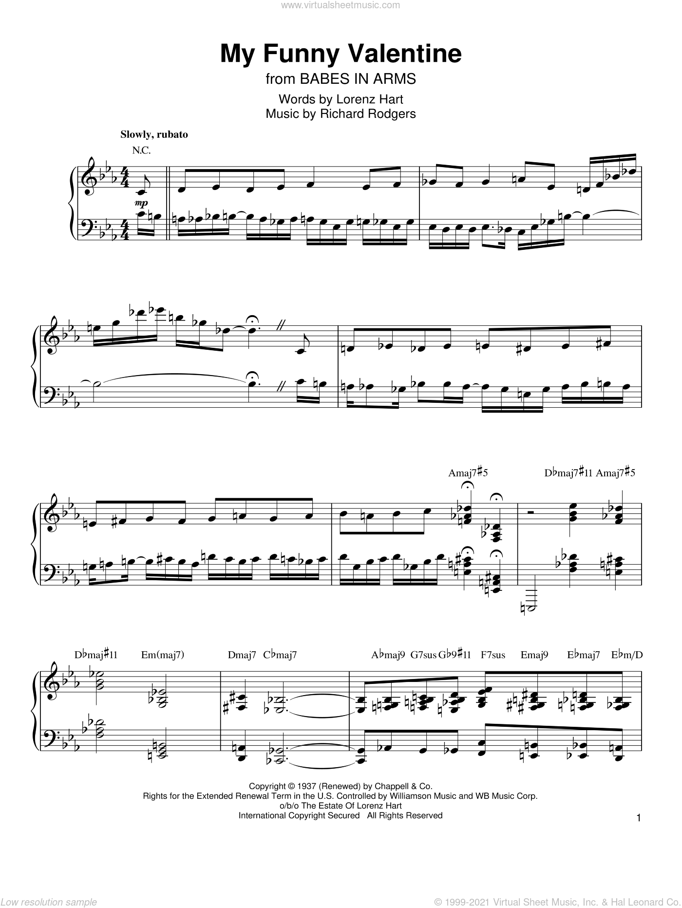My Funny Valentine sheet music for piano solo (transcription) by Kenny Werner, Babes In Arms (Musical), Rodgers & Hart, Lorenz Hart and Richard Rodgers, intermediate piano (transcription)