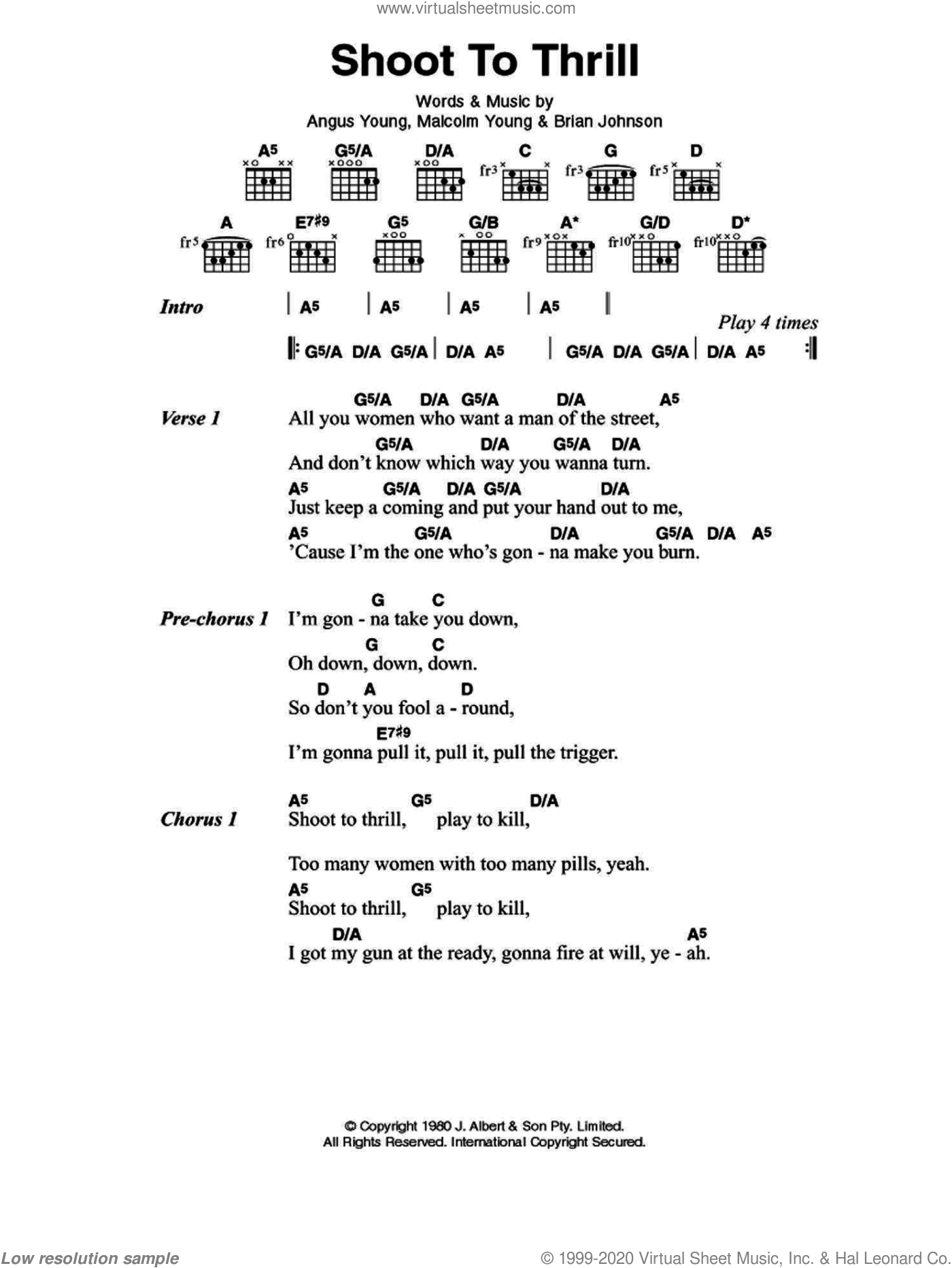 AC/DC - Shoot To Thrill sheet music for guitar (chords) [PDF]