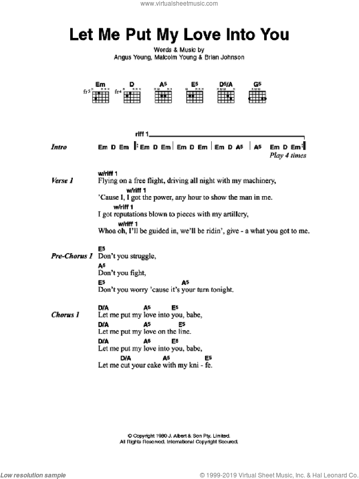 Let Me Put My Love Into You sheet music for guitar (chords, lyrics, melody) by Angus Young