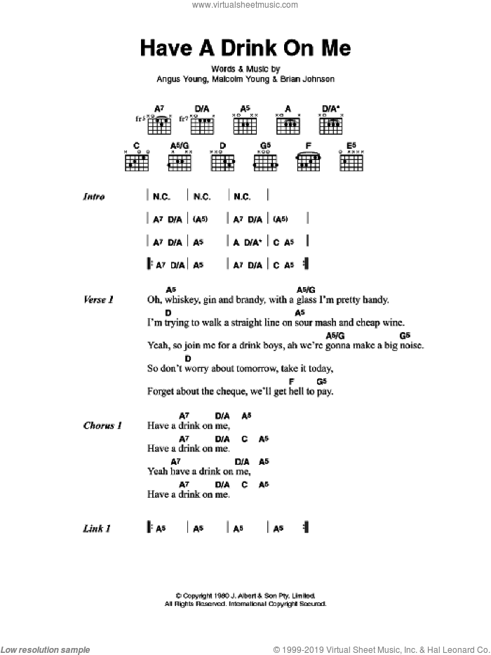 Have A Drink On Me sheet music for guitar (chords) by AC/DC and Brian Johnson, intermediate. Score Image Preview.