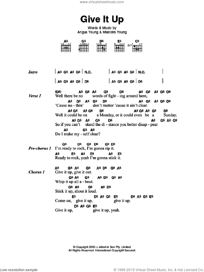 Give It Up sheet music for guitar (chords, lyrics, melody) by Angus Young