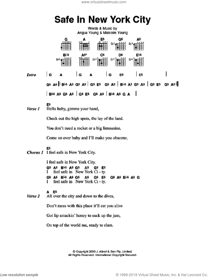 Safe In New York City sheet music for guitar (chords) by AC/DC, intermediate guitar (chords). Score Image Preview.