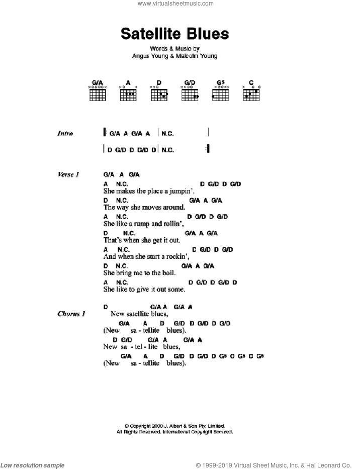 Satellite Blues sheet music for guitar (chords) by Angus Young, AC/DC and Malcolm Young. Score Image Preview.