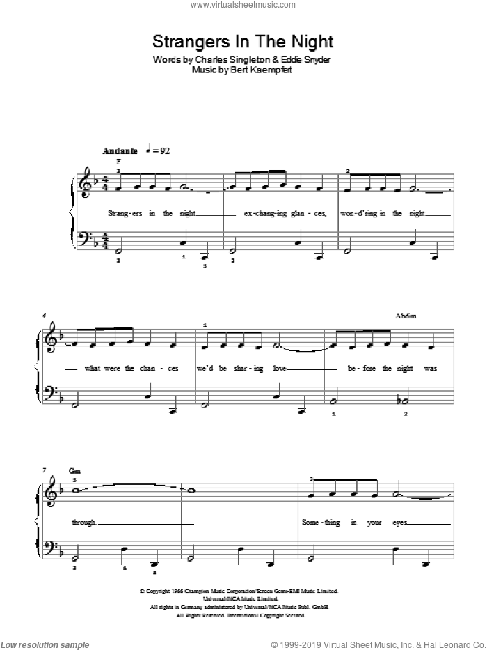 Strangers In The Night sheet music for piano solo (chords) by Bert Kaempfert