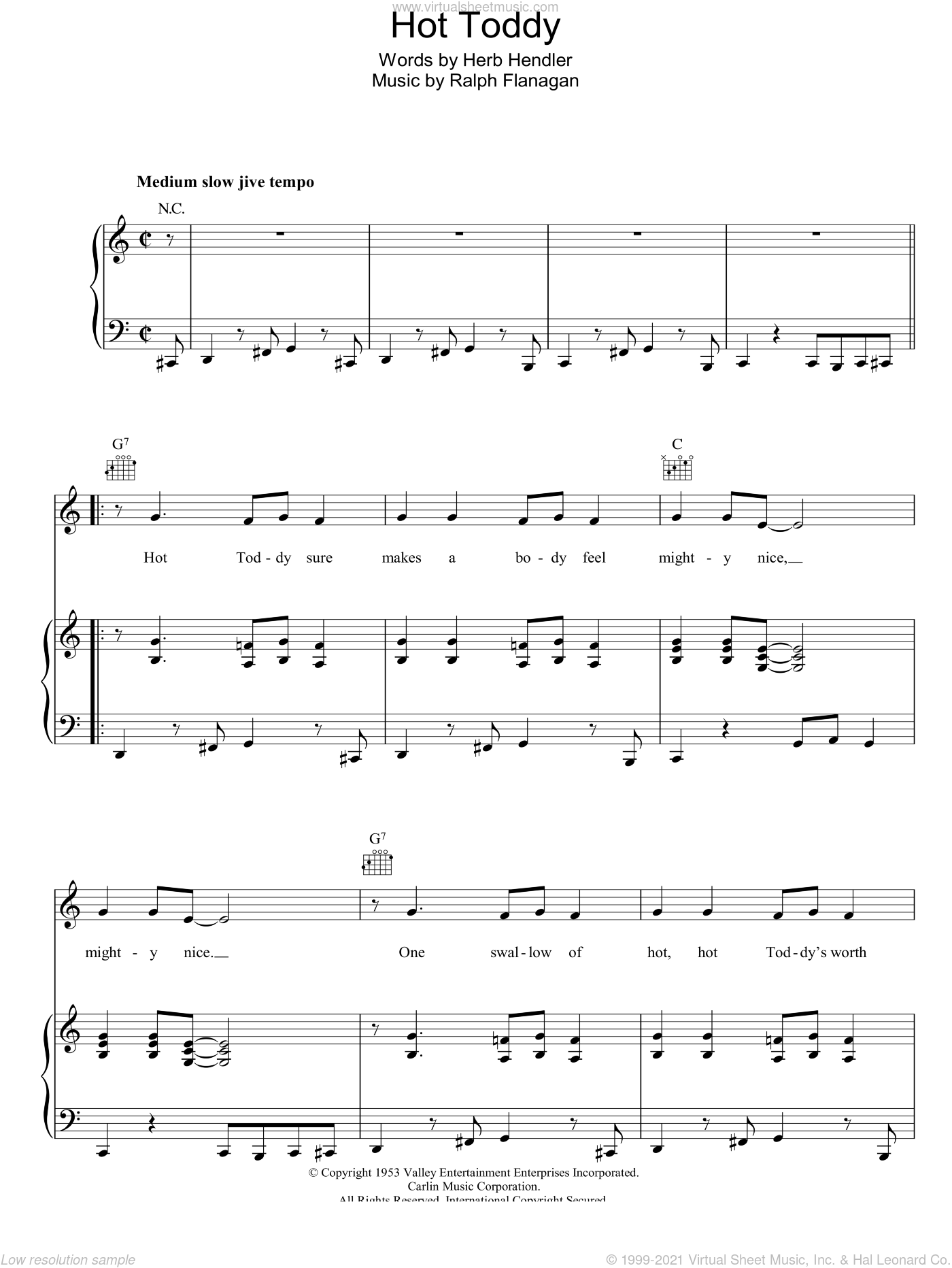 Hot Toddy sheet music for voice, piano or guitar by Ralph Flanagan and Herb Hendler, intermediate skill level