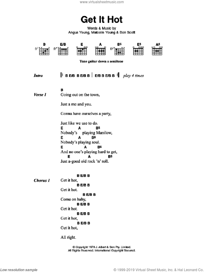 Get It Hot sheet music for guitar (chords) by Angus Young, AC/DC and Malcolm Young. Score Image Preview.