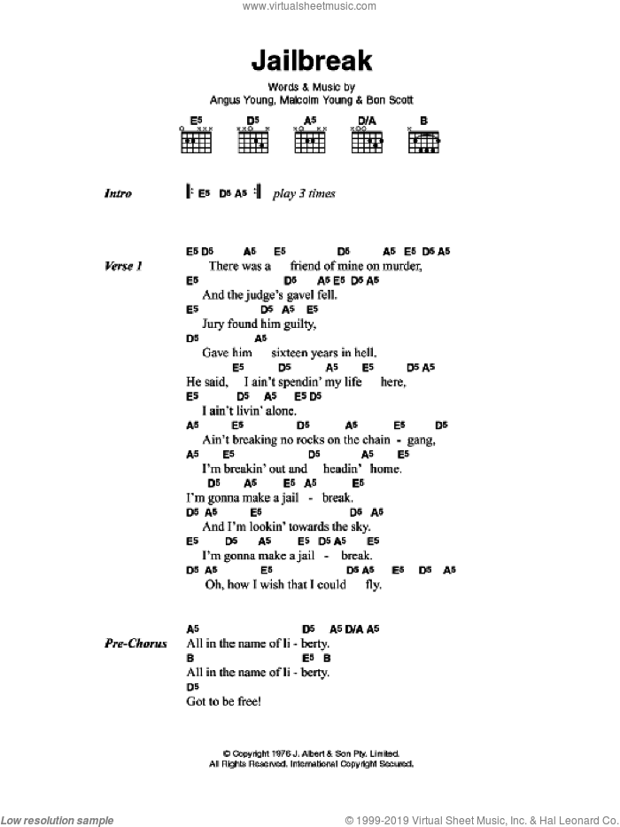 Jailbreak sheet music for guitar (chords) by AC/DC, intermediate. Score Image Preview.