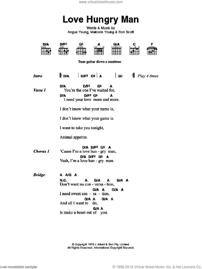 AC/DC - Love Hungry Man sheet music for guitar (chords) [PDF]