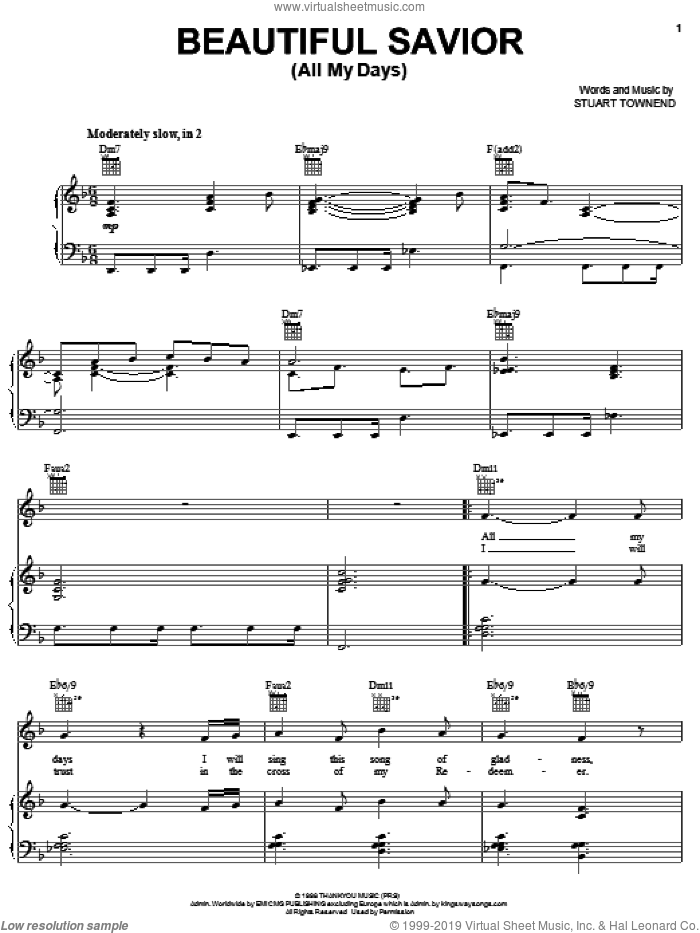Beautiful Savior (All My Days) sheet music for voice, piano or guitar by Stuart Townend and Tim Hughes, intermediate voice, piano or guitar. Score Image Preview.