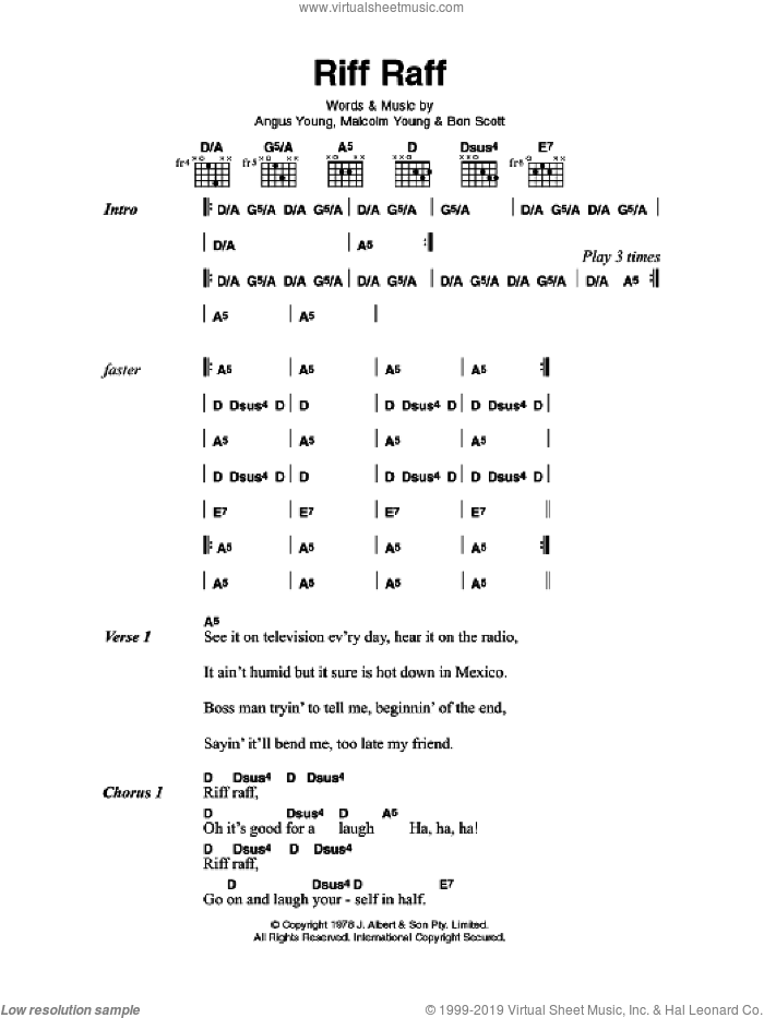 Riff Raff sheet music for guitar (chords) by Angus Young, AC/DC and Malcolm Young. Score Image Preview.