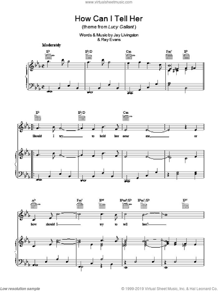 How Can I Tell Her (theme from Lucy Gallant) sheet music for voice, piano or guitar by Jay Livingston and Ray Evans. Score Image Preview.