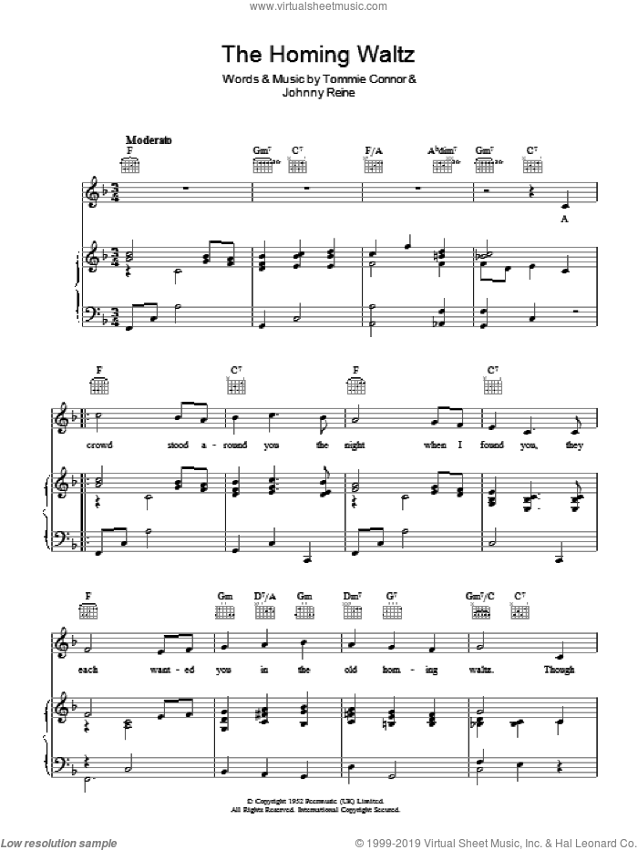 The Homing Waltz sheet music for voice, piano or guitar by Johnny Reine and Tommie Connor. Score Image Preview.