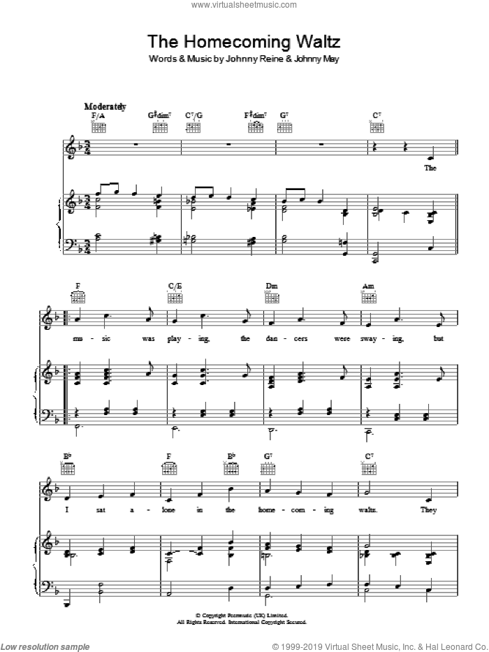 The Homecoming Waltz sheet music for voice, piano or guitar by Vera Lynn, Johnny May and Johnny Reine, intermediate skill level
