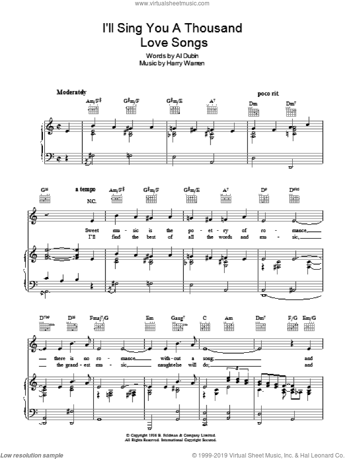 I'll Sing You A Thousand Love Songs sheet music for voice, piano or guitar by Robert Paige, Harry Warren and Al Dubin, intermediate skill level