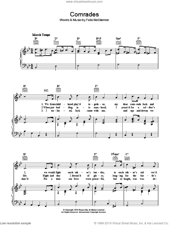 Comrades sheet music for voice, piano or guitar by Felix McGlennon. Score Image Preview.