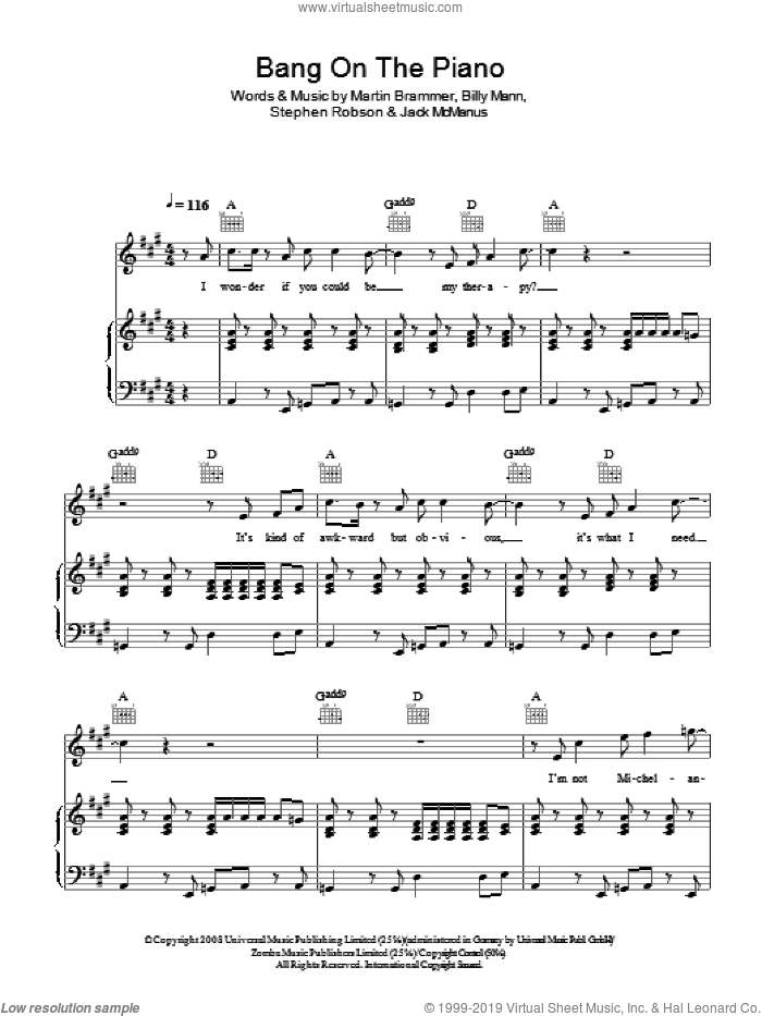 Bang On The Piano sheet music for voice, piano or guitar by Billy Mann