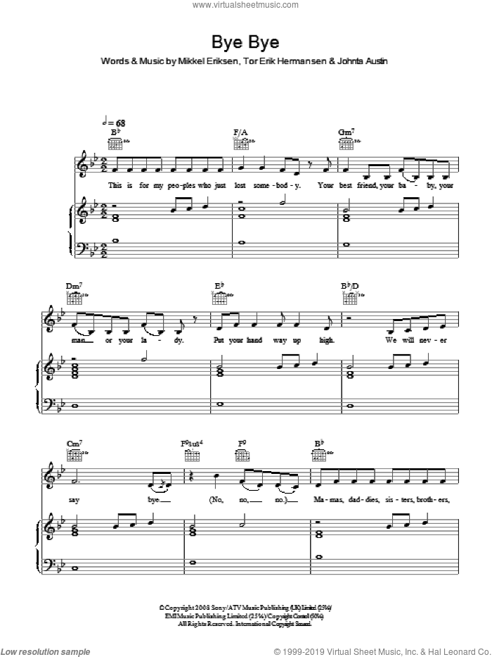 Bye Bye sheet music for voice, piano or guitar by Mariah Carey, Johnta Austin, Mikkel Eriksen and Tor Erik Hermansen, intermediate voice, piano or guitar. Score Image Preview.