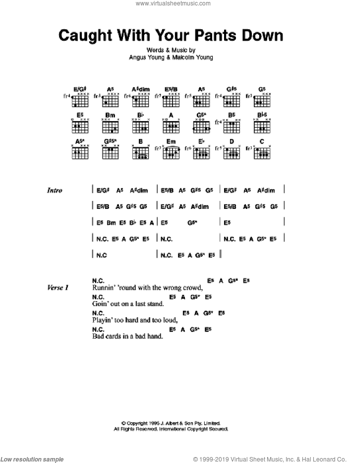 Caught With Your Pants Down sheet music for guitar (chords) by Angus Young