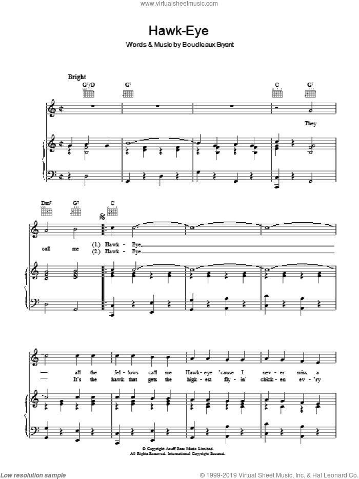 Hawk-Eye sheet music for voice, piano or guitar by Boudleaux Bryant