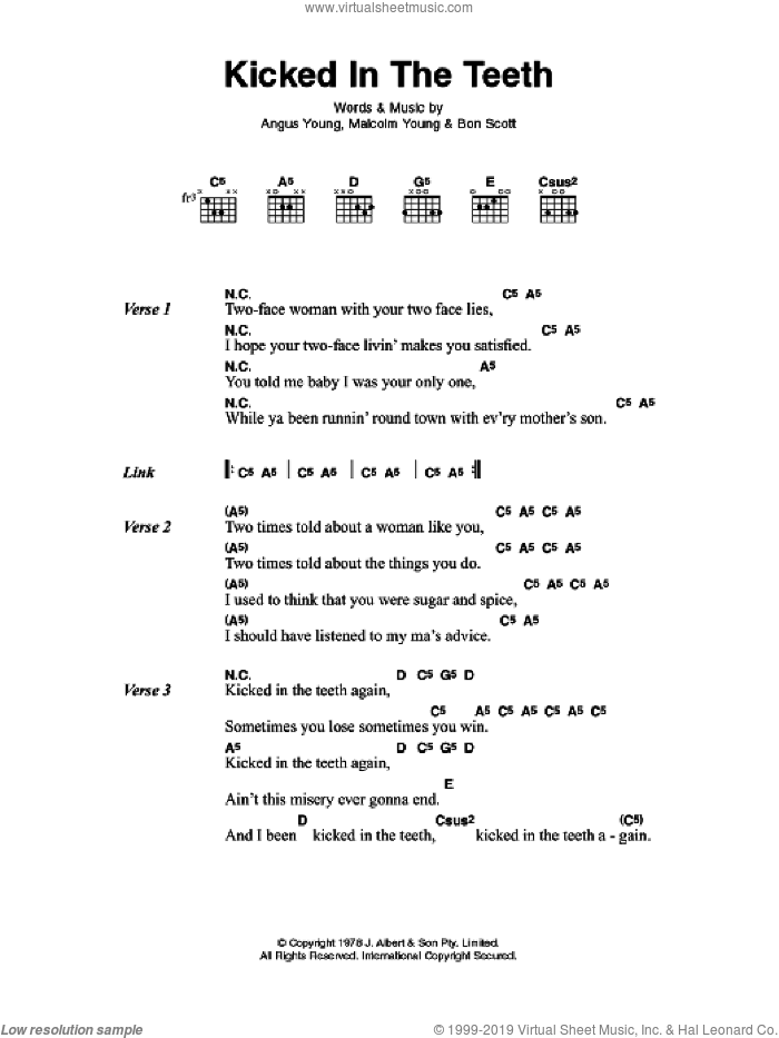 Kicked In The Teeth sheet music for guitar (chords) by Angus Young