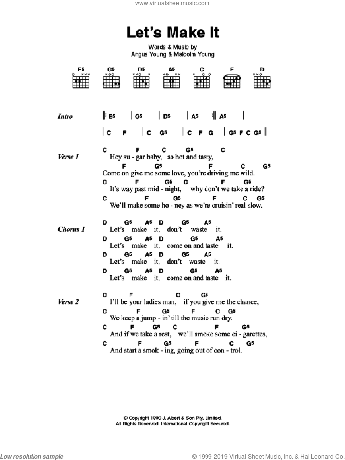 Acdc Lets Make It Sheet Music For Guitar Chords Pdf