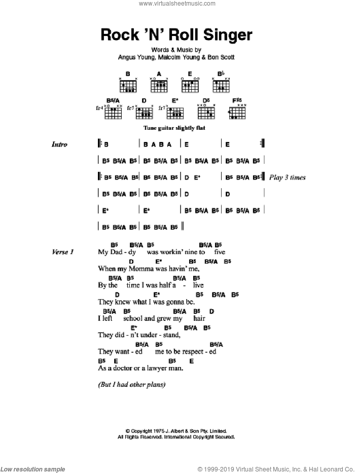 Rock 'N' Roll Singer sheet music for guitar solo (chords, lyrics, melody) by Angus Young