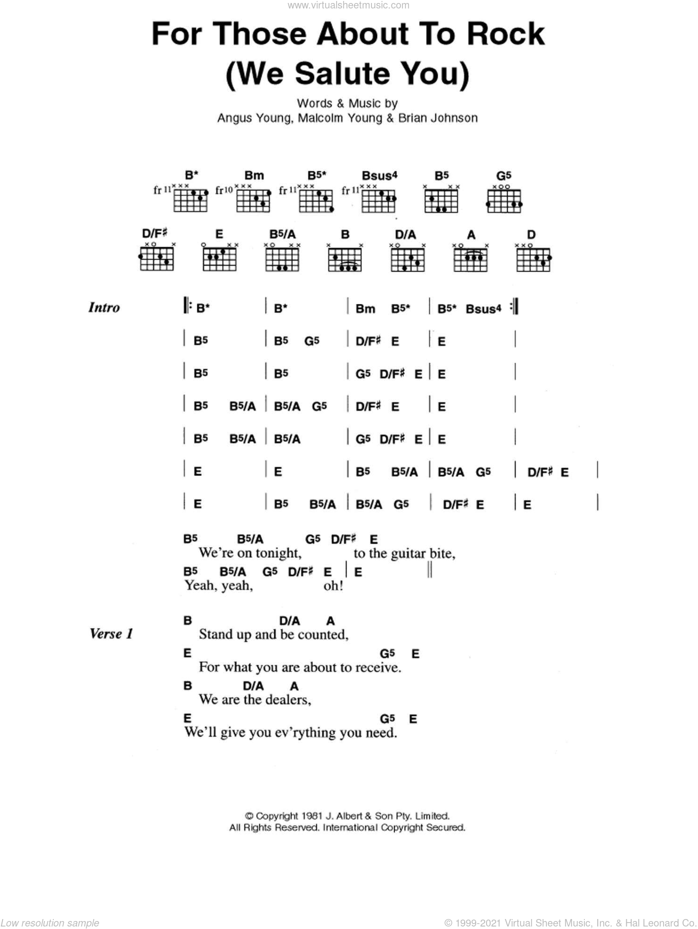 For Those About To Rock (We Salute You) sheet music for guitar (chords) by Malcolm Young, AC/DC and Angus Young. Score Image Preview.